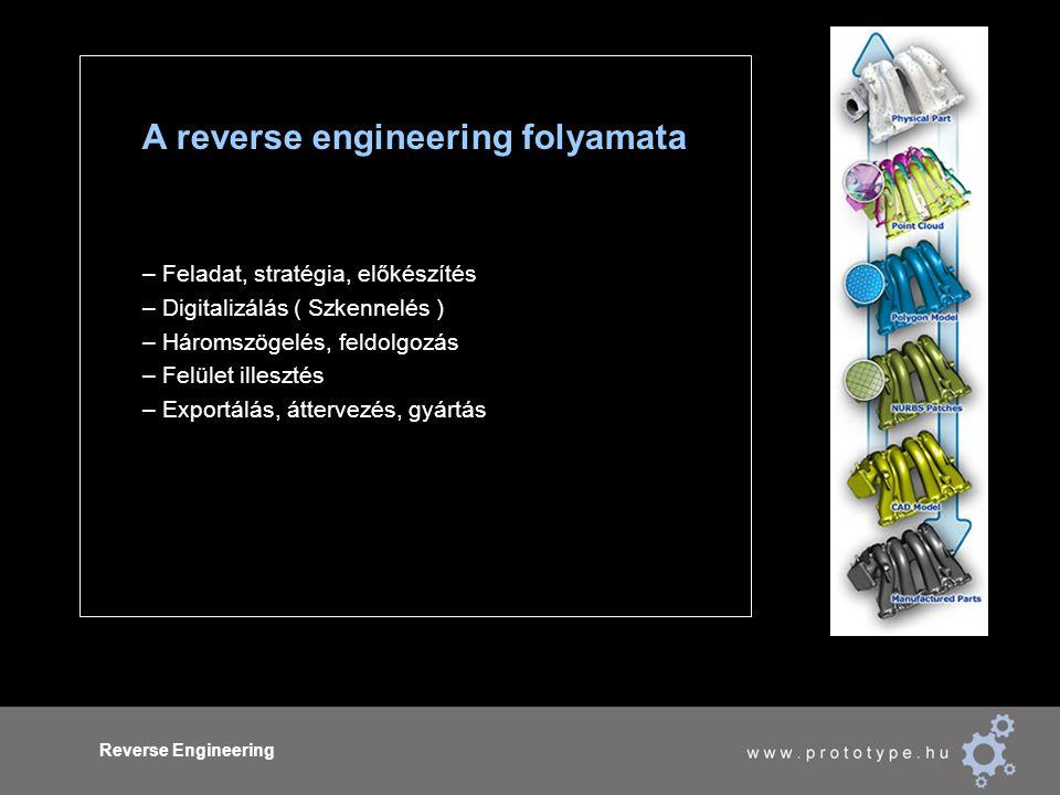 Reverse Engineering A reverse engineering folyamata – Feladat, stratégia, előkészítés – Digitalizálás ( Szkennelés ) – Háromszögelés, feldolgozás – Felület illesztés – Exportálás, áttervezés, gyártás