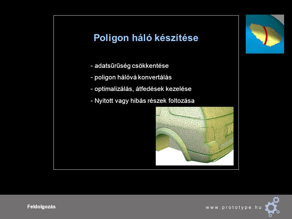 Feldolgozás Poligon háló készítése - adatsűrűség csökkentése - poligon hálóvá konvertálás - optimalizálás, átfedések kezelése - Nyitott vagy hibás részek foltozása