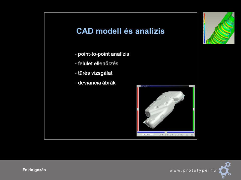 Feldolgozás CAD modell és analízis - point-to-point analízis - felület ellenőrzés - tűrés vizsgálat - deviancia ábrák