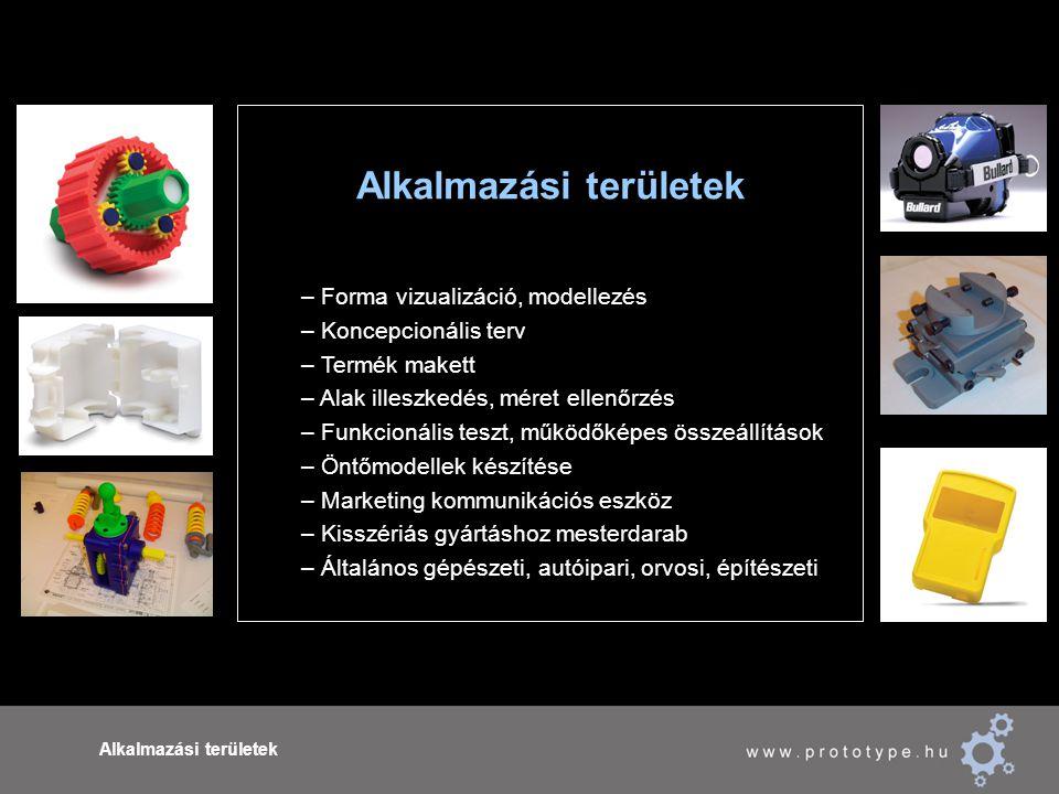 Alkalmazási területek – Forma vizualizáció, modellezés – Koncepcionális terv – Termék makett – Alak illeszkedés, méret ellenőrzés – Funkcionális teszt, működőképes összeállítások – Öntőmodellek készítése – Marketing kommunikációs eszköz – Kisszériás gyártáshoz mesterdarab – Általános gépészeti, autóipari, orvosi, építészeti
