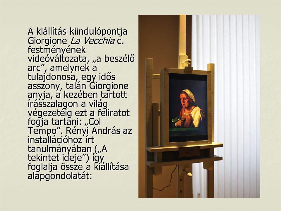 """A kiállítás kiindulópontja Giorgione La Vecchia c. festményének videóváltozata, """"a beszélő arc"""", amelynek a tulajdonosa, egy idős asszony, talán Giorg"""