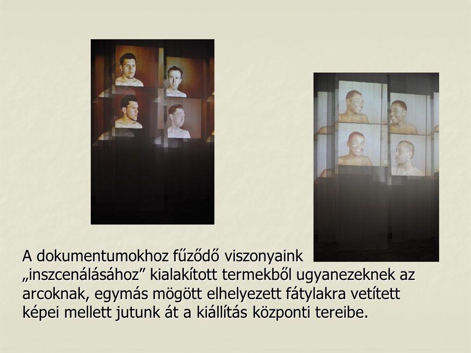 """A dokumentumokhoz fűződő viszonyaink """"inszcenálásához kialakított termekből ugyanezeknek az arcoknak, egymás mögött elhelyezett fátylakra vetített képei mellett jutunk át a kiállítás központi tereibe."""
