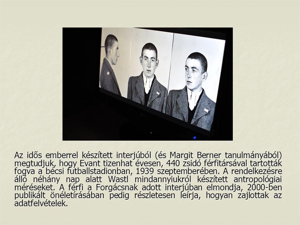 Az idős emberrel készített interjúból (és Margit Berner tanulmányából) megtudjuk, hogy Evant tizenhat évesen, 440 zsidó férfitársával tartották fogva a bécsi futballstadionban, 1939 szeptemberében.