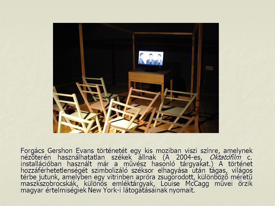 Forgács Gershon Evans történetét egy kis moziban viszi színre, amelynek nézőterén használhatatlan székek állnak (A 2004-es, Oktatófilm c. installációb