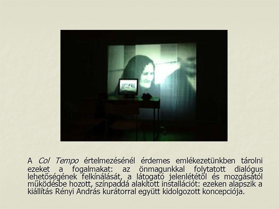 A Col Tempo értelmezésénél érdemes emlékezetünkben tárolni ezeket a fogalmakat: az önmagunkkal folytatott dialógus lehetőségének felkínálását, a látogató jelenlététől és mozgásától működésbe hozott, színpaddá alakított installációt: ezeken alapszik a kiállítás Rényi András kurátorral együtt kidolgozott koncepciója.