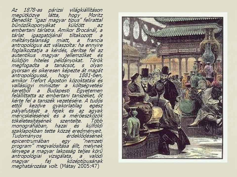 Az 1878-as párizsi világkiállításon megütközve látta, hogy Moritz Benedikt igazi magyar típus felirattal bűnözőkoponyákat küldött az embertani tárlatra.