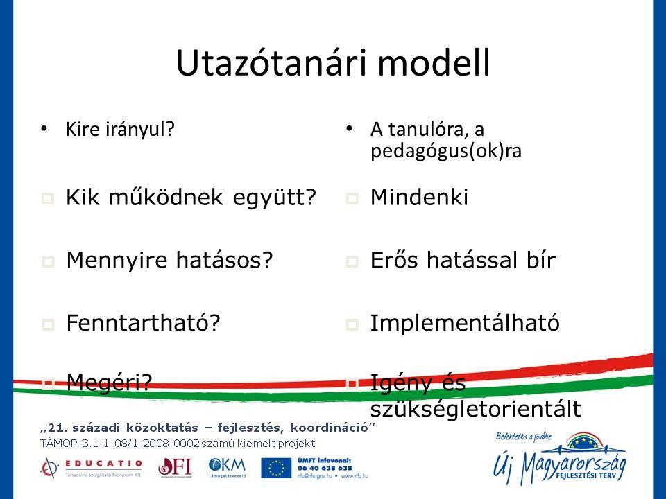 Utazótanári modell • Kire irányul.• A tanulóra, a pedagógus(ok)ra  Kik működnek együtt.