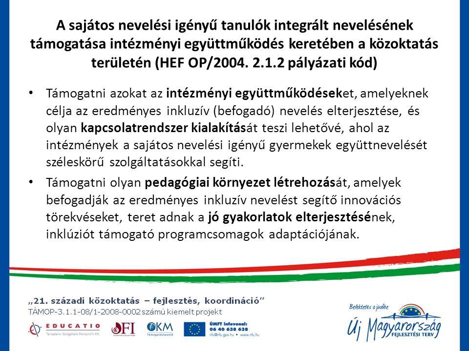 A sajátos nevelési igényű tanulók integrált nevelésének támogatása intézményi együttműködés keretében a közoktatás területén (HEF OP/2004.