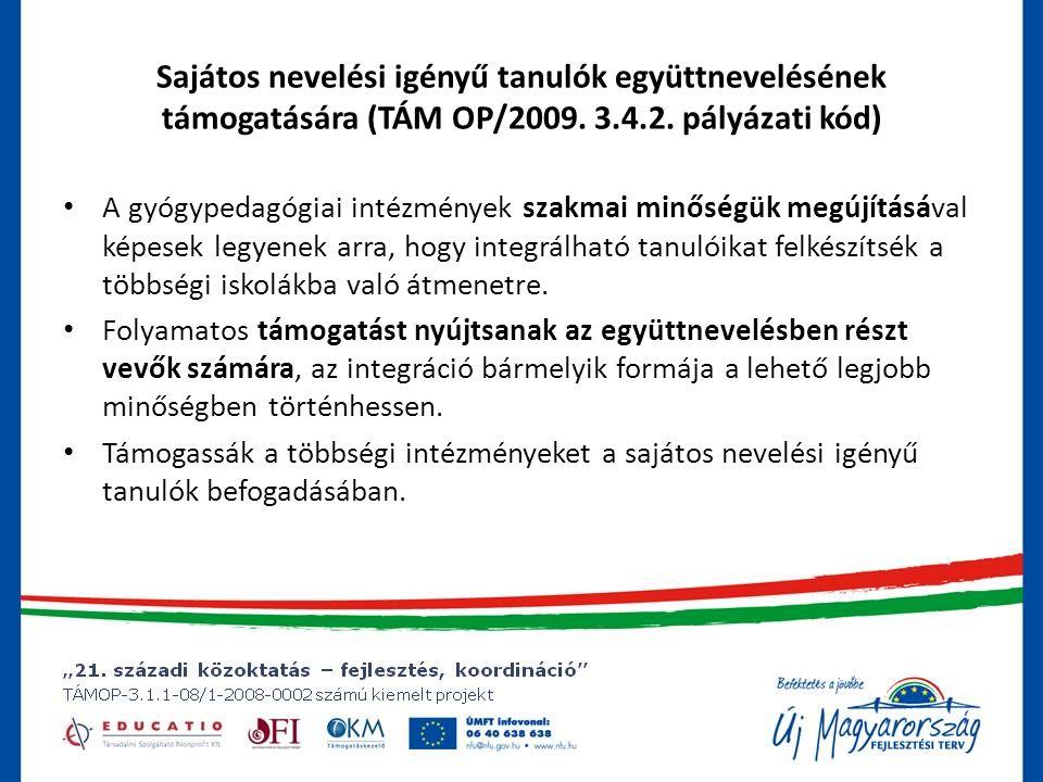Sajátos nevelési igényű tanulók együttnevelésének támogatására (TÁM OP/2009.