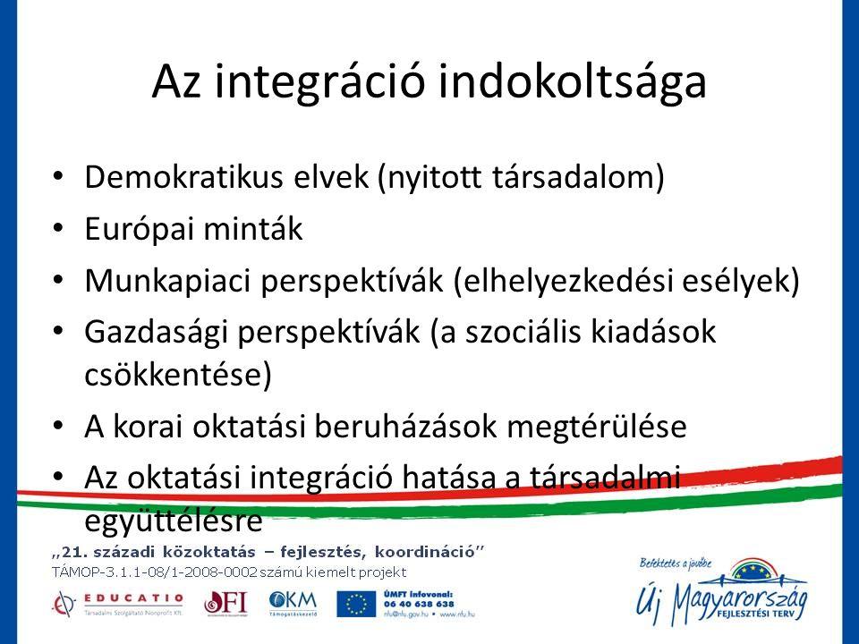 Az integráció indokoltsága • Demokratikus elvek (nyitott társadalom) • Európai minták • Munkapiaci perspektívák (elhelyezkedési esélyek) • Gazdasági perspektívák (a szociális kiadások csökkentése) • A korai oktatási beruházások megtérülése • Az oktatási integráció hatása a társadalmi együttélésre