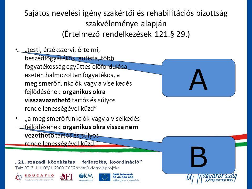 """B A Sajátos nevelési igény szakértői és rehabilitációs bizottság szakvéleménye alapján (Értelmező rendelkezések 121.§ 29.) • """"testi, érzékszervi, értelmi, beszédfogyatékos, autista, több fogyatékosság együttes előfordulása esetén halmozottan fogyatékos, a megismerő funkciók vagy a viselkedés fejlődésének organikus okra visszavezethető tartós és súlyos rendellenességével küzd • """"a megismerő funkciók vagy a viselkedés fejlődésének organikus okra vissza nem vezethető tartós és súlyos rendellenességével küzd."""