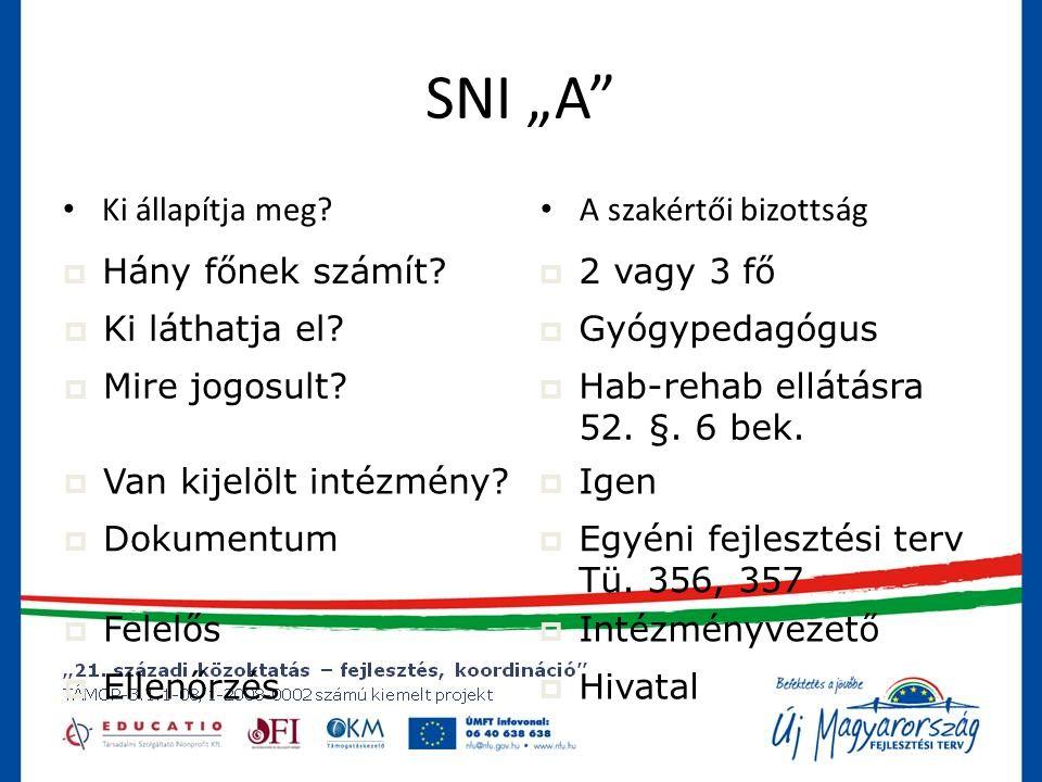 """SNI """"B • Ki állapítja meg.• A szakértői bizottság  Hány főnek számít."""