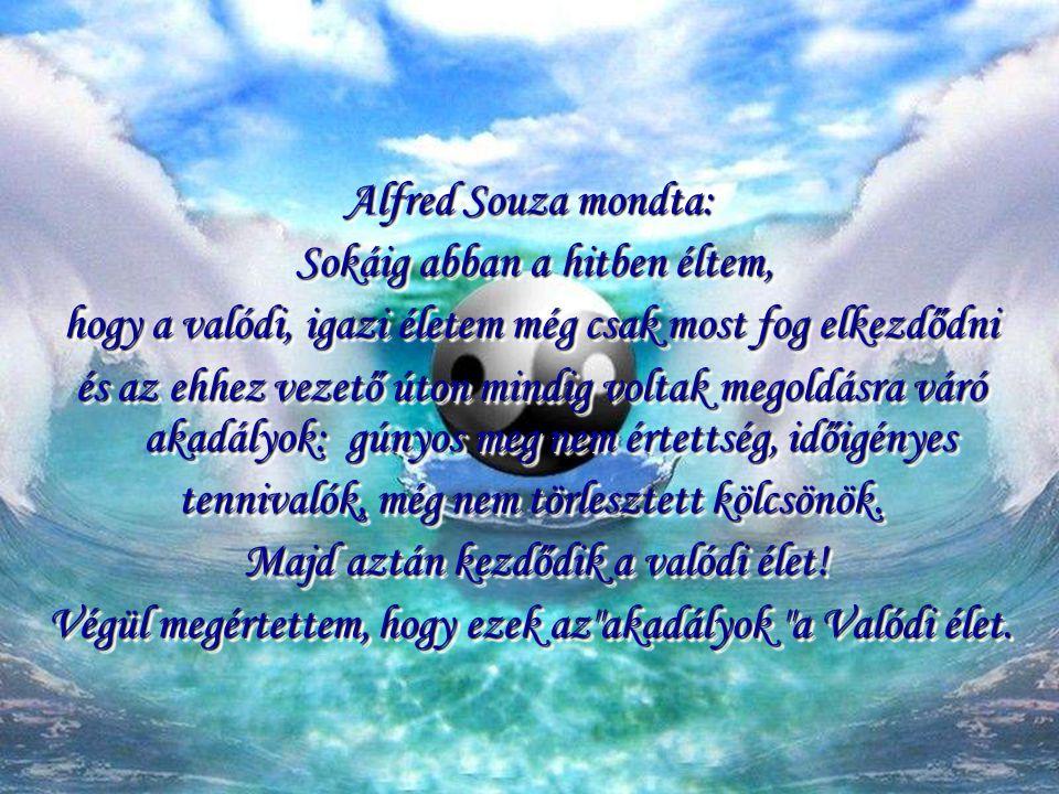 Alfred Souza mondta: Sokáig abban a hitben éltem, Sokáig abban a hitben éltem, hogy a valódi, igazi életem még csak most fog elkezdődni és az ehhez vezető úton mindig voltak megoldásra váró akadályok: gúnyos meg nem értettség, időigényes tennivalók, még nem törlesztett kölcsönök.