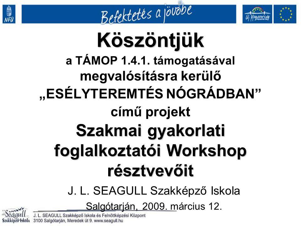 Köszöntjük Szakmai gyakorlati foglalkoztatói Workshop résztvevőit Köszöntjük a TÁMOP 1.4.1.