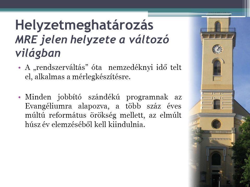 Helyzetmeghatározás MRE jelen helyzete a változó világban •Legnagyobb pozitívumnak a lelki ébredések, hitre jutások és fizikai építkezések mellett azt tartom, hogy az MRE  megőrizte hitvallásbéli és szervezeti egységét  kiépítette intézményrendszerét  megalakította az egységes Magyar Református Egyházat, amely nemcsak a világban élő magyar reformátusság egységesülését, hanem a magyar nemzet határokon átívelő egységesülését is elősegíti Legyen érte dicsőség az Úrnak.