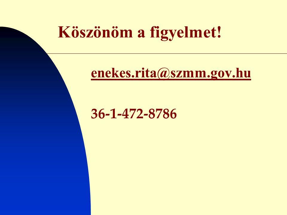 Köszönöm a figyelmet! enekes.rita@szmm.gov.hu 36-1-472-8786