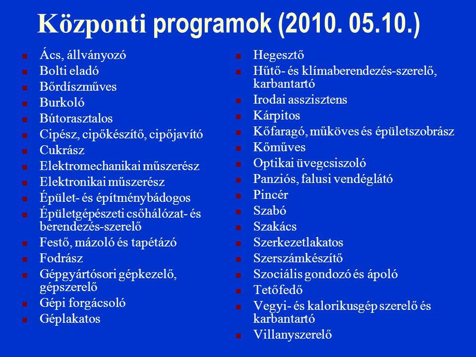 Központi programok (2010. 05.10.)  Ács, állványozó  Bolti eladó  Bőrdíszműves  Burkoló  Bútorasztalos  Cipész, cipőkészítő, cipőjavító  Cukrász