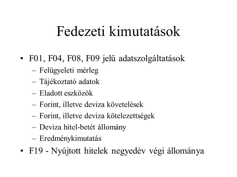 Fedezeti kimutatások •F01, F04, F08, F09 jelű adatszolgáltatások –Felügyeleti mérleg –Tájékoztató adatok –Eladott eszközök –Forint, illetve deviza köv