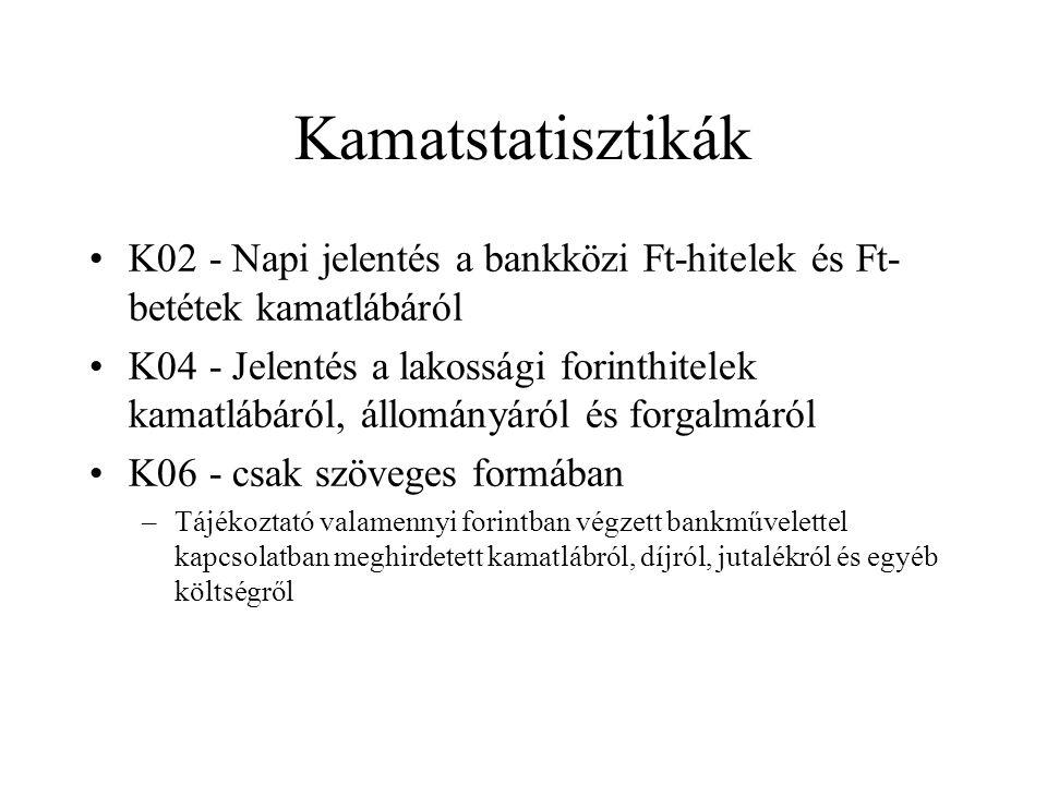 Kamatstatisztikák •K02 - Napi jelentés a bankközi Ft-hitelek és Ft- betétek kamatlábáról •K04 - Jelentés a lakossági forinthitelek kamatlábáról, állom
