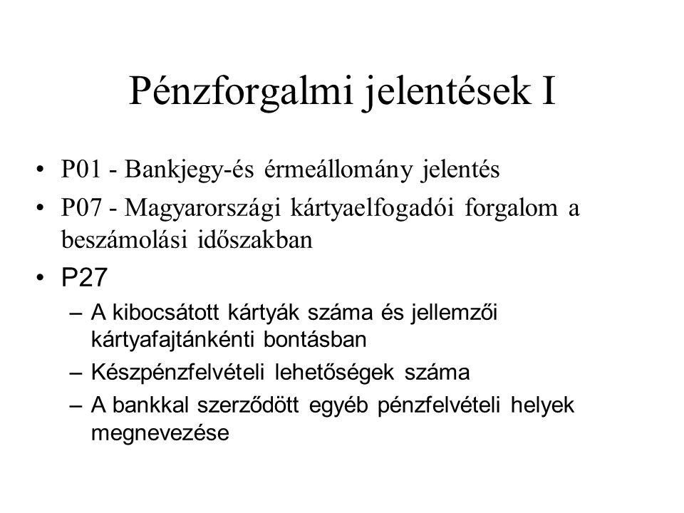 Pénzforgalmi jelentések I •P01 - Bankjegy-és érmeállomány jelentés •P07 - Magyarországi kártyaelfogadói forgalom a beszámolási időszakban •P27 –A kibo