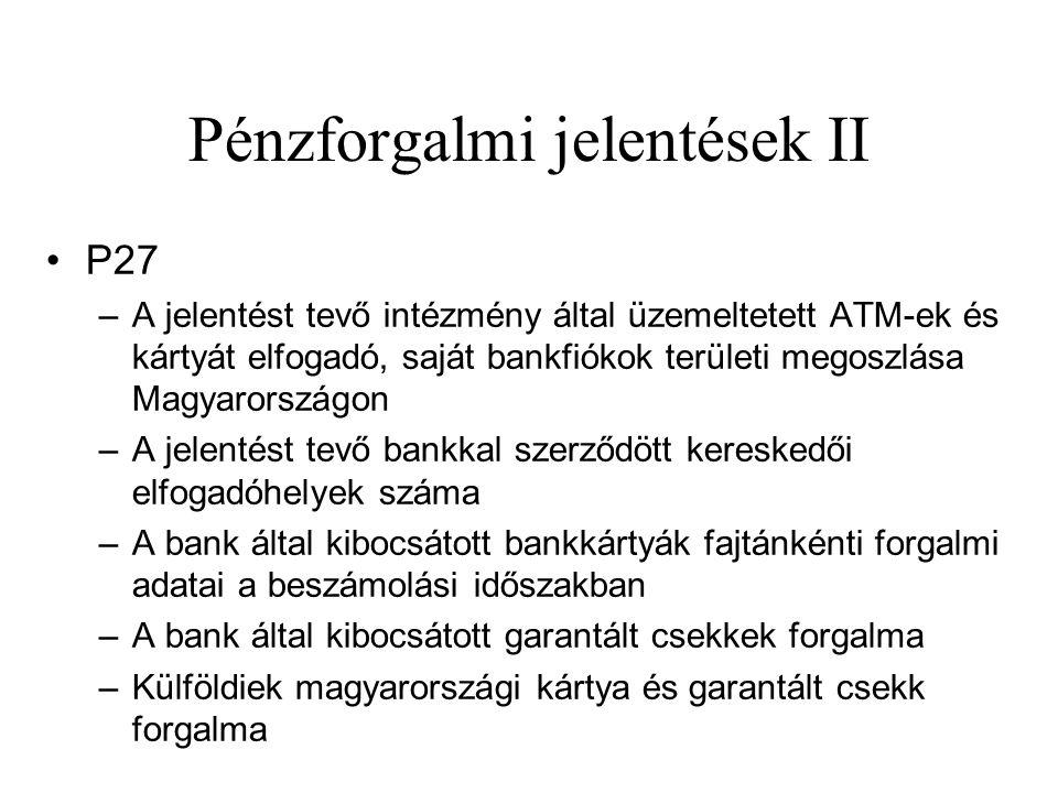 Pénzforgalmi jelentések II •P27 –A jelentést tevő intézmény által üzemeltetett ATM-ek és kártyát elfogadó, saját bankfiókok területi megoszlása Magyar