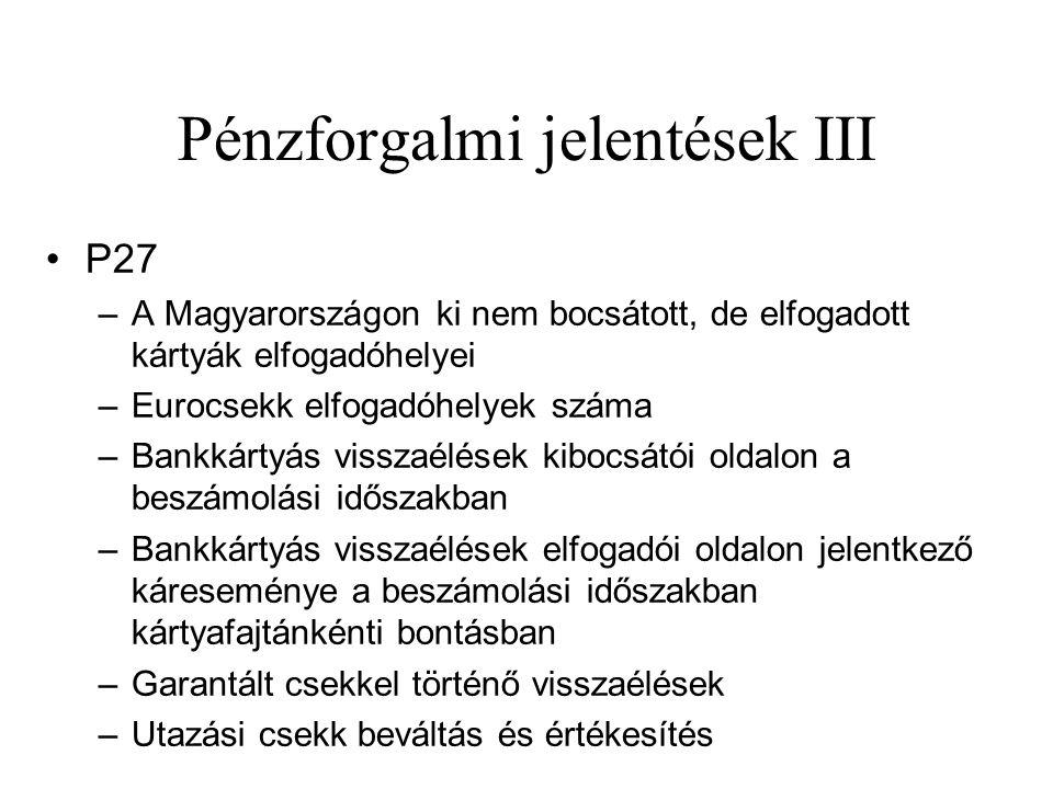 Pénzforgalmi jelentések III •P27 –A Magyarországon ki nem bocsátott, de elfogadott kártyák elfogadóhelyei –Eurocsekk elfogadóhelyek száma –Bankkártyás