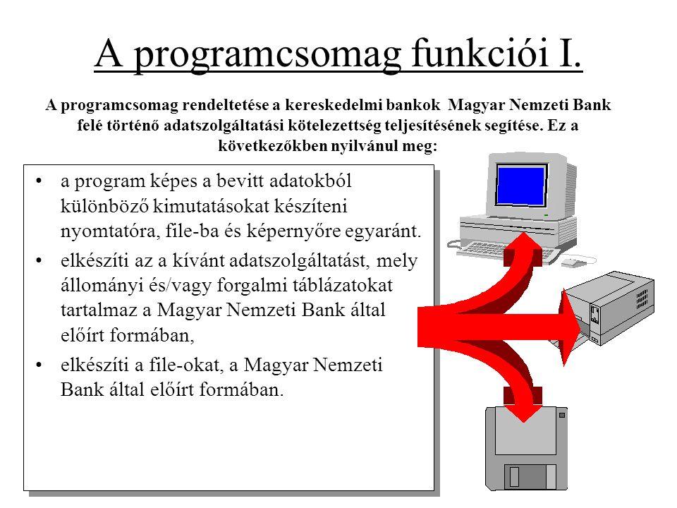 A programcsomag funkciói I. •a program képes a bevitt adatokból különböző kimutatásokat készíteni nyomtatóra, file-ba és képernyőre egyaránt. •elkészí