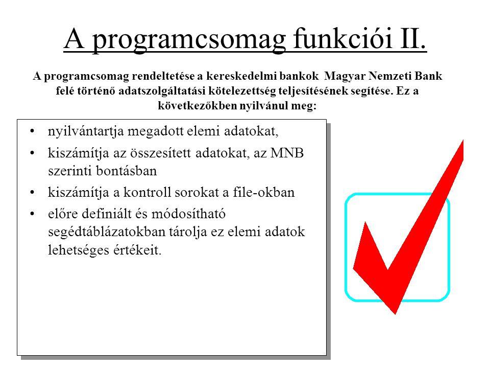 A programcsomag funkciói II. •nyilvántartja megadott elemi adatokat, •kiszámítja az összesített adatokat, az MNB szerinti bontásban •kiszámítja a kont