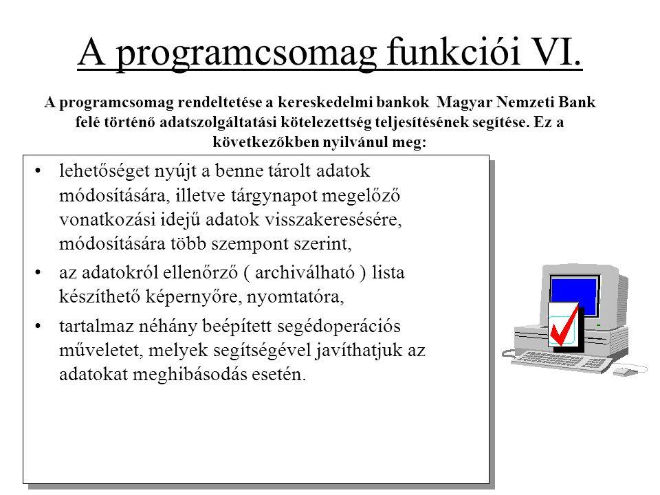 A programcsomag funkciói VI. •lehetőséget nyújt a benne tárolt adatok módosítására, illetve tárgynapot megelőző vonatkozási idejű adatok visszakeresés