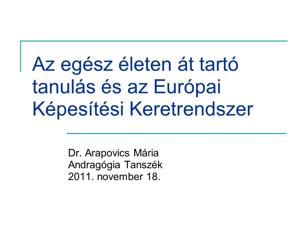 Az egész életen át tartó tanulás és az Európai Képesítési Keretrendszer Dr. Arapovics Mária Andragógia Tanszék 2011. november 18.