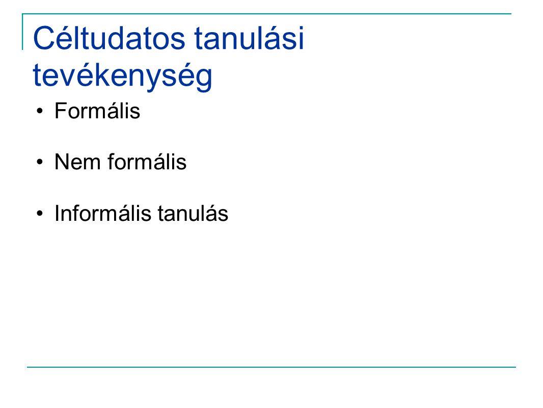 Céltudatos tanulási tevékenység •Formális •Nem formális •Informális tanulás