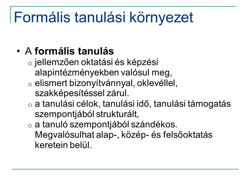 Formális tanulási környezet •A formális tanulás o jellemzően oktatási és képzési alapintézményekben valósul meg, o elismert bizonyítvánnyal, oklevélle