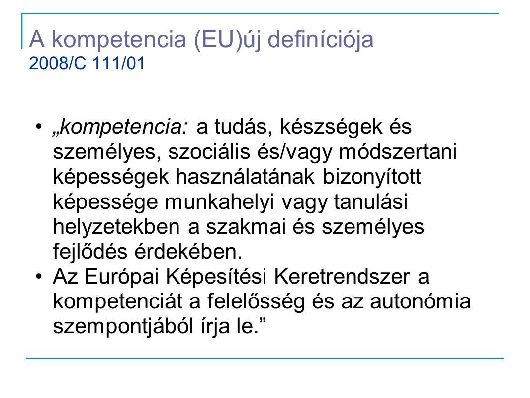 """A kompetencia (EU)új definíciója 2008/C 111/01 •""""kompetencia: a tudás, készségek és személyes, szociális és/vagy módszertani képességek használatának"""