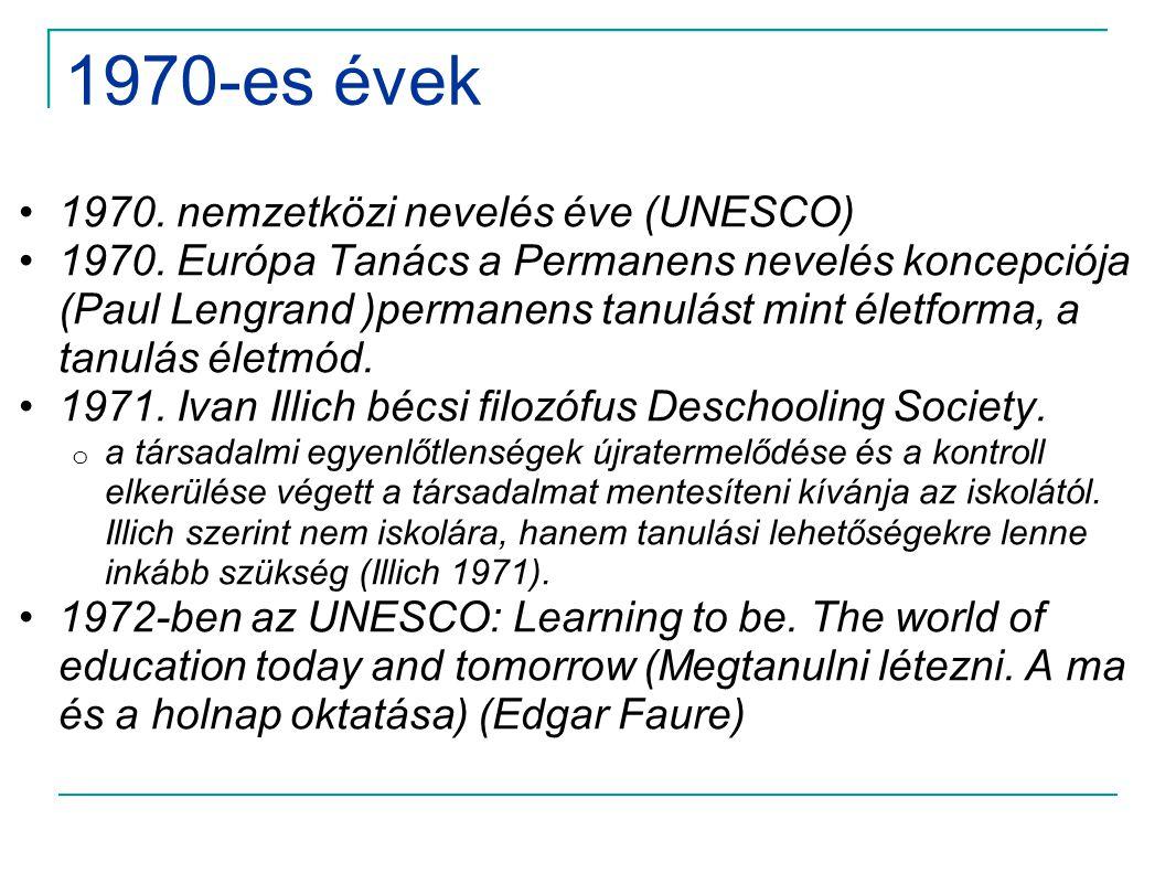1970-es évek •1970. nemzetközi nevelés éve (UNESCO) •1970. Európa Tanács a Permanens nevelés koncepciója (Paul Lengrand )permanens tanulást mint életf