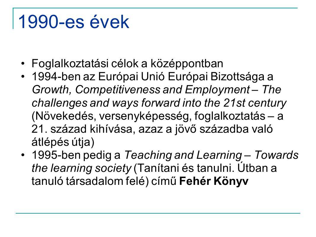 1990-es évek •Foglalkoztatási célok a középpontban •1994-ben az Európai Unió Európai Bizottsága a Growth, Competitiveness and Employment – The challen