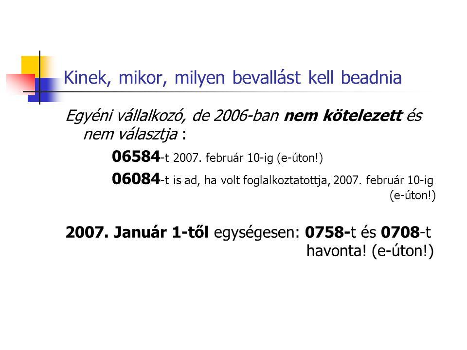 Kinek, mikor, milyen bevallást kell beadnia Egyéni vállalkozó, de 2006-ban nem kötelezett és nem választja : 06584 -t 2007. február 10-ig (e-úton!) 06