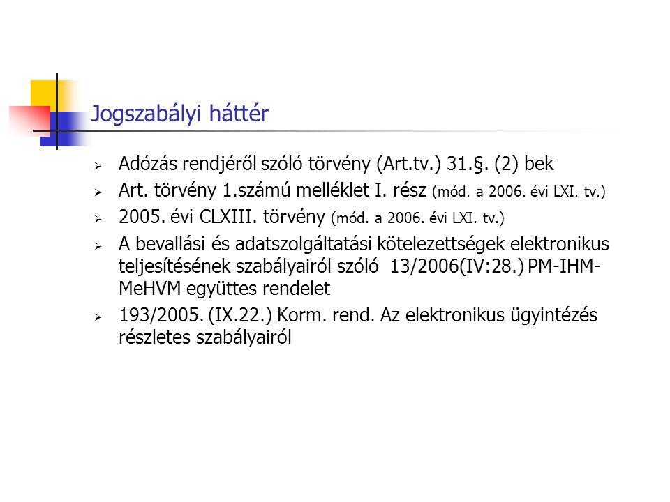 Jogszabályi háttér  Adózás rendjéről szóló törvény (Art.tv.) 31.§. (2) bek  Art. törvény 1.számú melléklet I. rész (mód. a 2006. évi LXI. tv.)  200