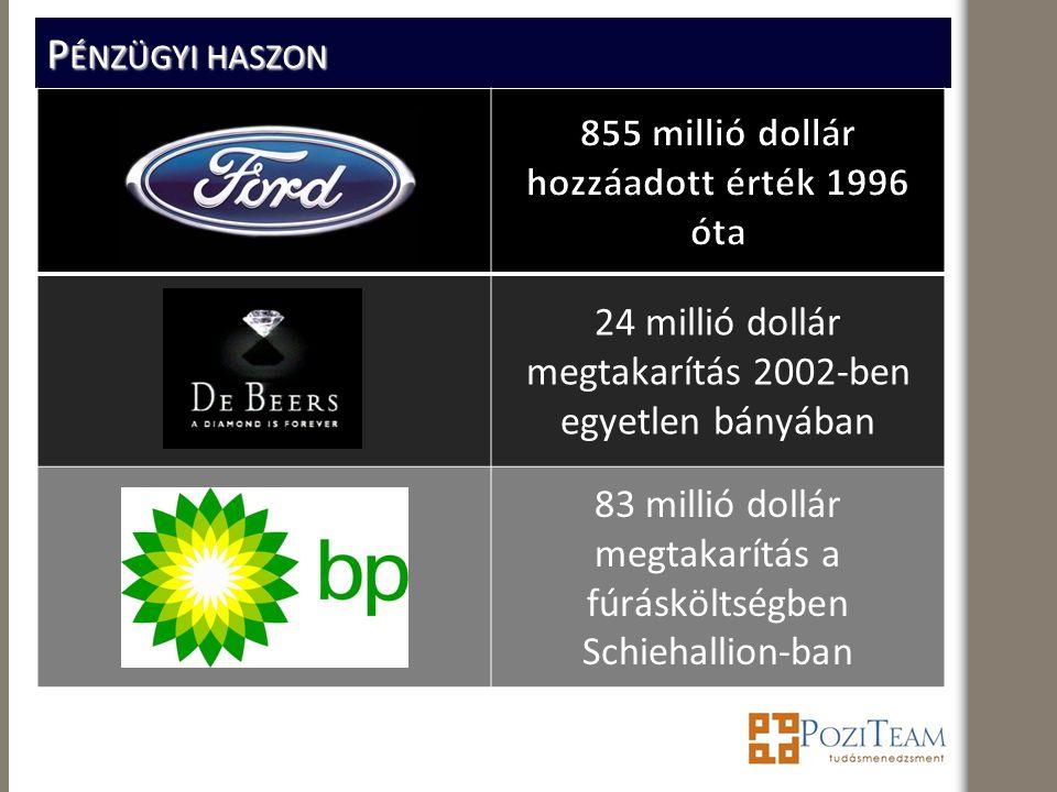 P ÉNZÜGYI HASZON 24 millió dollár megtakarítás 2002-ben egyetlen bányában 83 millió dollár megtakarítás a fúrásköltségben Schiehallion-ban
