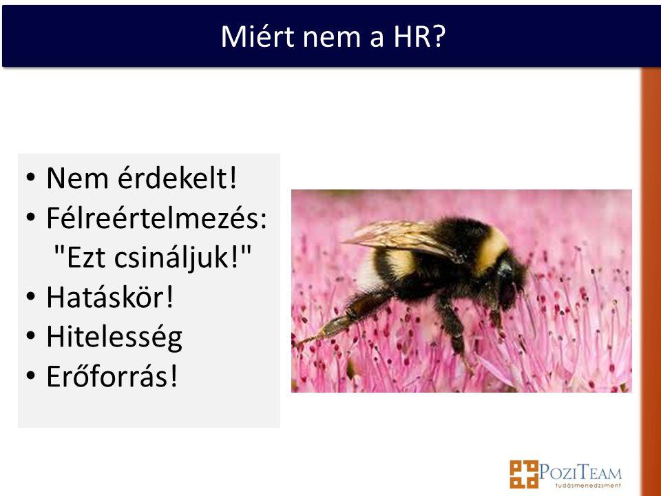 Miért nem a HR. • Nem érdekelt. • Félreértelmezés: Ezt csináljuk! • Hatáskör.