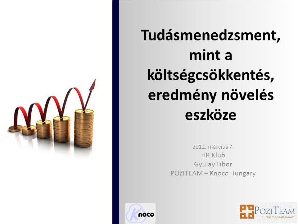 Tudásmenedzsment, mint a költségcsökkentés, eredmény növelés eszköze 2012.