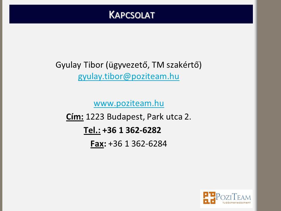 K APCSOLAT Gyulay Tibor (ügyvezető, TM szakértő) gyulay.tibor@poziteam.hu gyulay.tibor@poziteam.hu www.poziteam.hu Cím: 1223 Budapest, Park utca 2.