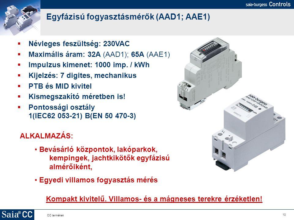 10 CC termékek Egyfázisú fogyasztásmérők (AAD1; AAE1) Kompakt kivitelű. Villamos- és a mágneses terekre érzéketlen!  Névleges feszültség: 230VAC  Ma