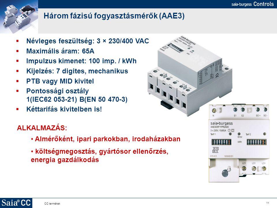 11 CC termékek Három fázisú fogyasztásmérők (AAE3)  Névleges feszültség: 3 × 230/400 VAC  Maximális áram: 65A  Impulzus kimenet: 100 imp. / kWh  K