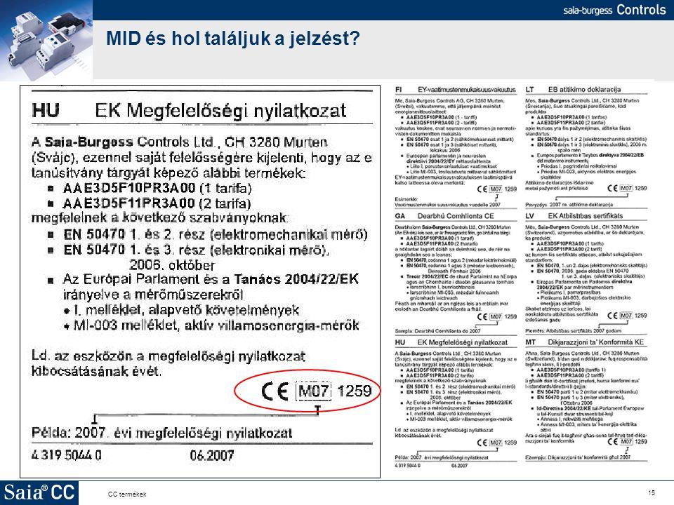 15 CC termékek MID és hol találjuk a jelzést?