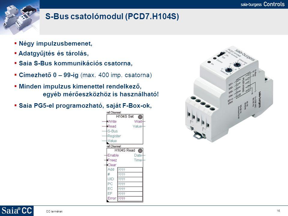 16 CC termékek S-Bus csatolómodul (PCD7.H104S)  Négy impulzusbemenet,  Adatgyűjtés és tárolás,  Saia S-Bus kommunikációs csatorna,  Címezhető 0 –