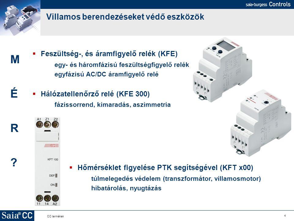 4 CC termékek Villamos berendezéseket védő eszközök  Feszültség-, és áramfigyelő relék (KFE) egy- és háromfázisú feszültségfigyelő relék egyfázisú AC