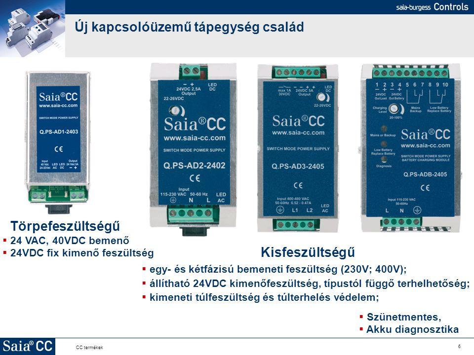 6 CC termékek Új kapcsolóüzemű tápegység család Kisfeszültségű  egy- és kétfázisú bemeneti feszültség (230V; 400V);  állítható 24VDC kimenőfeszültsé