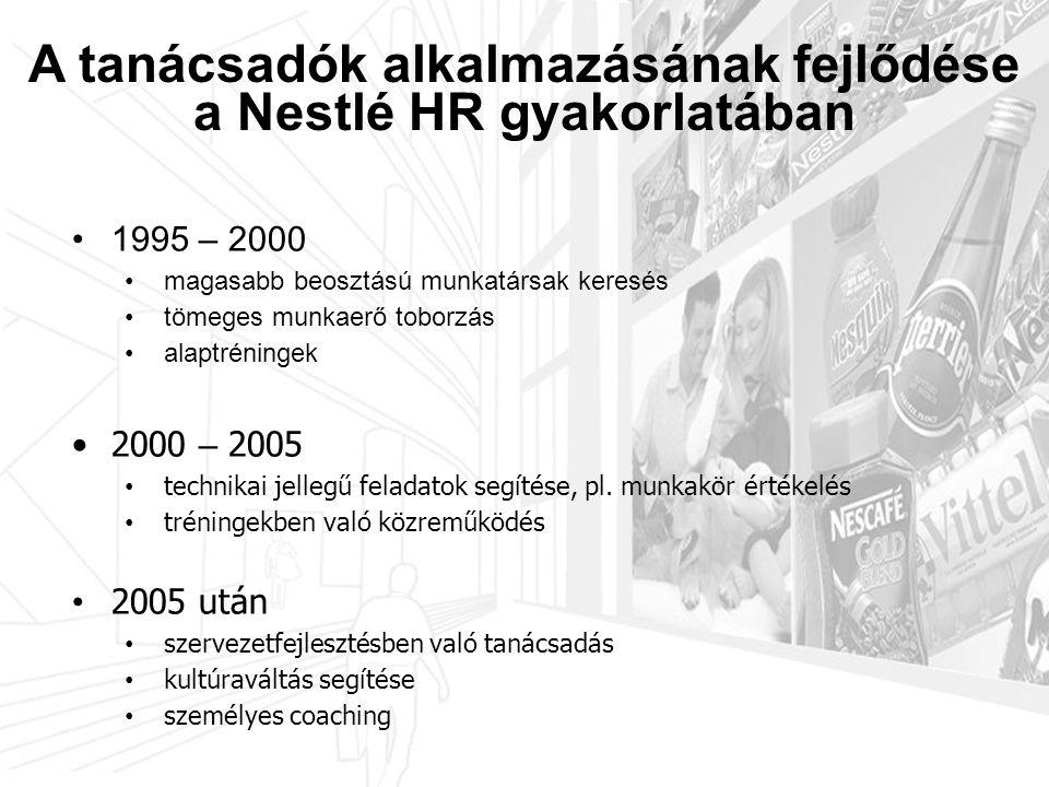 3.3 Javadalmazási struktúra • Első szakaszban: • tudás átvétele • tanácsadói anyagok felhasználása • adott területeken • Egy adott feladatra • Napjainkban: • kompetenciák fejlesztése • Nestlé belső anyagok és a tanácsadói know-how ötvözése • multifunkcionális, több területet is átfogó komplex tevékenység A tanácsadók alkalmazásának fejlődése a Nestlé HR gyakorlatában