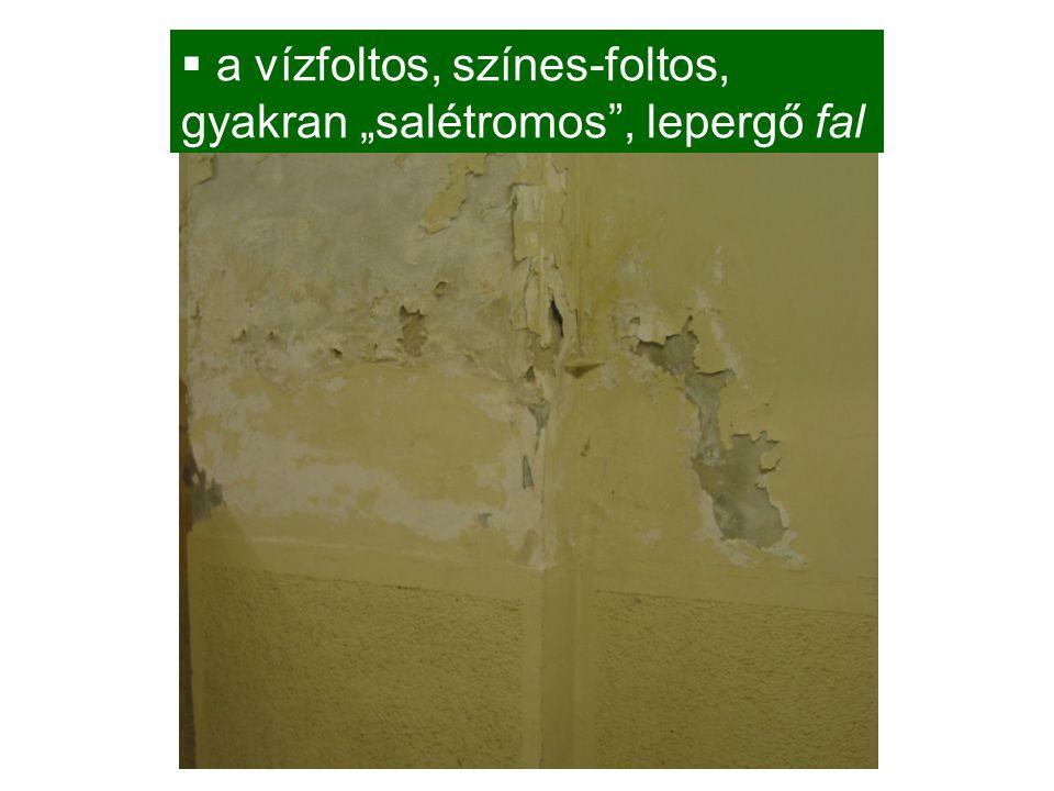 """ a vízfoltos, színes-foltos, gyakran """"salétromos"""", lepergő fal"""
