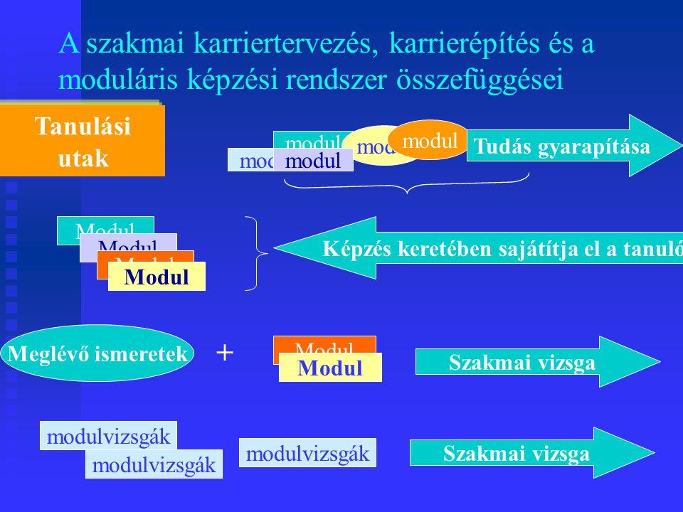 A szakmai karriertervezés, karrierépítés és a moduláris képzési rendszer összefüggései Tanulási utak Modul Képzés keretében sajátítja el a tanuló Meglévő ismeretek Modul + Szakmai vizsga modulvizsgák Szakmai vizsga modul Tudás gyarapítása modul